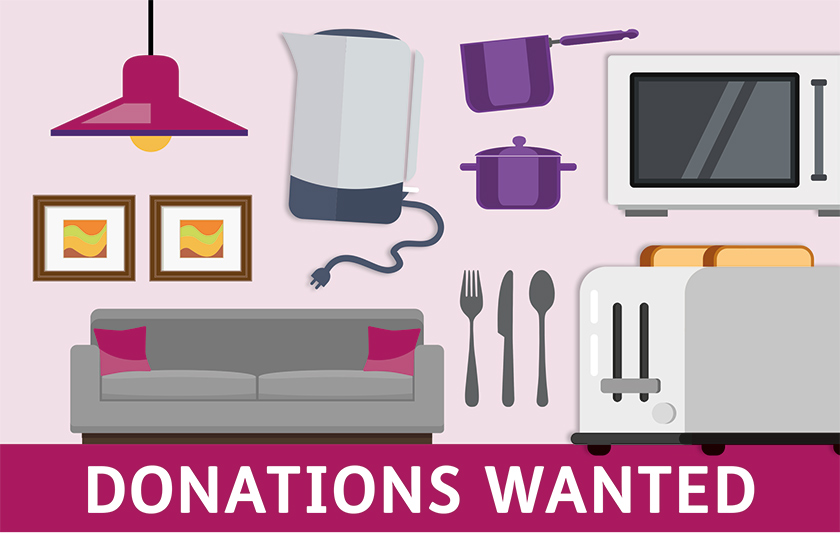 Donations wanted poster for Donnington Court