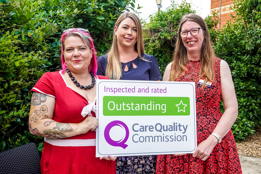 Staff from Montague Road Nursing Home celebrating their 'Outstanding' rating