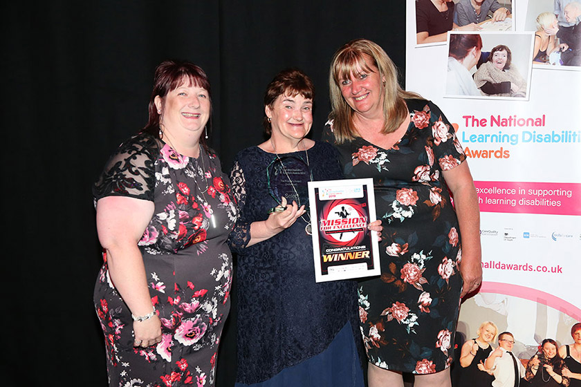 Janice Spencer, Maria Spencer and Liz Wardle celebrate the awards win