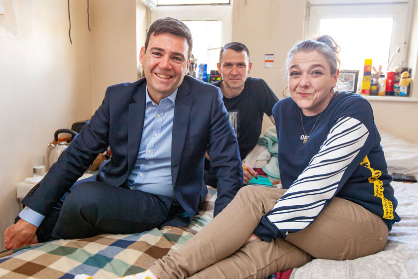Mayor of Greater Manchester Andy Burnham with Stanley Grove residents.