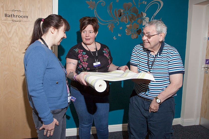Deputy Local Service Manager Emma Morris with residents Amanda Broadbent and Geoffrey Palmer.