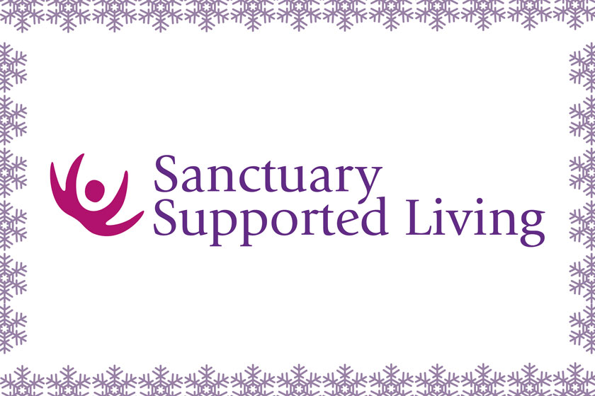 Christmas themed Sanctuary Supported Living logo