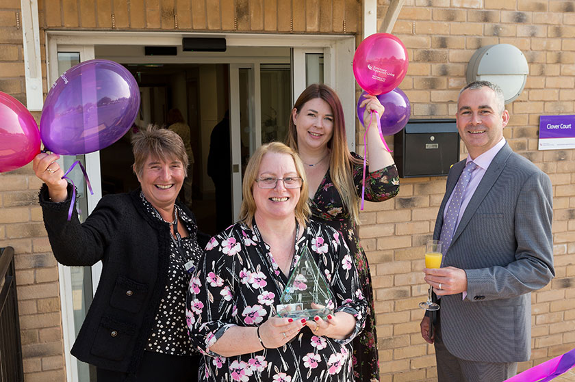 Sara Keetley, Lesley Pyner, Gemma Else and Dave Shaw celebrating the award win at Clover Court.