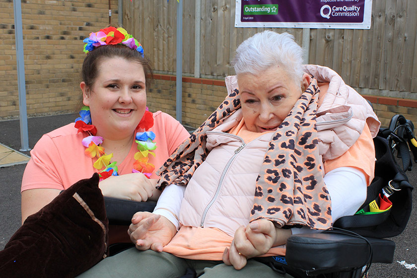 Sanctuary Supported Living residents Faye Stone and Cynthia Smith enjoying the seaside themed celebrations at Lowestoft