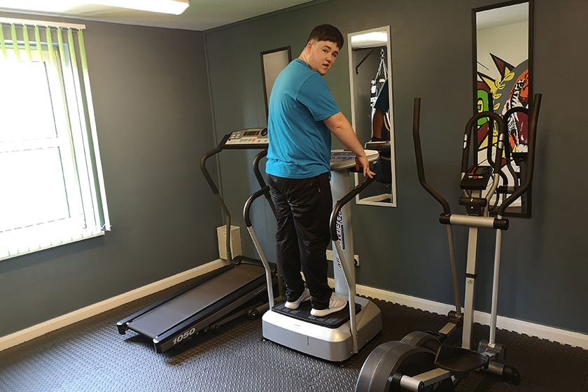 Coley Anderson using the on-site gym at Sanctuary Supported Living's Victoria Road scheme in Hartlepool.