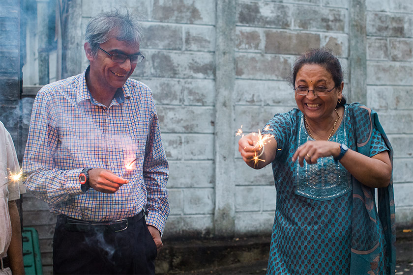 Resident Divyesh Jani with support assistant Prembai Hirani during the Diwali celebrations.