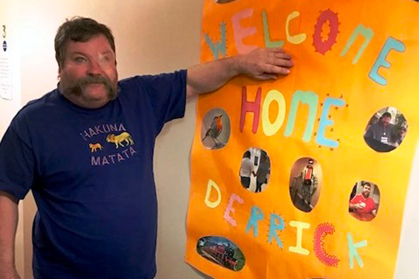Derrick is welcomed homed following a life-changing operation