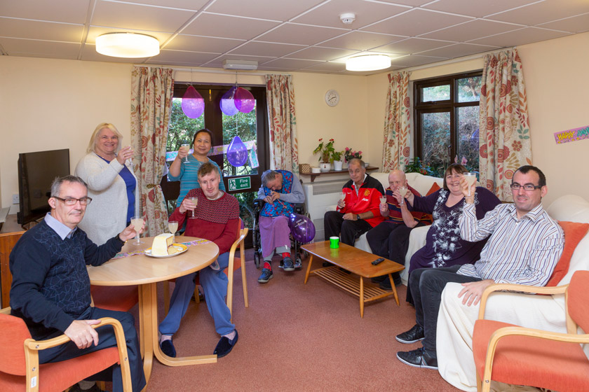 Residents and staff celebrating