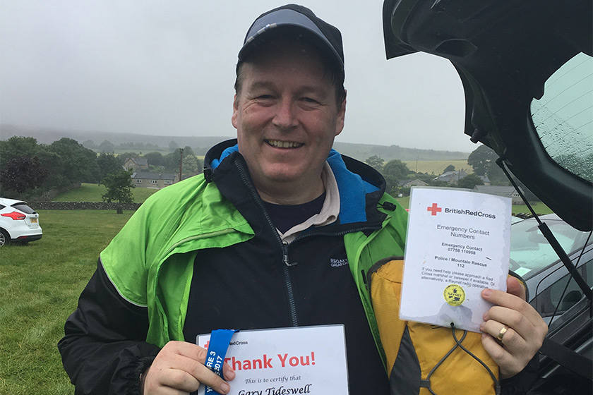 Gary with his certificate at the end of the challenge