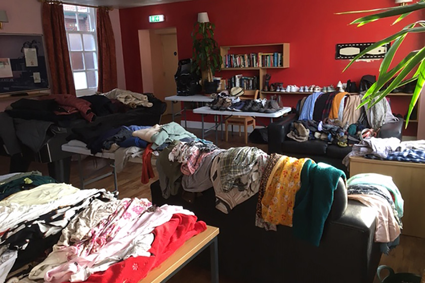 Donated clothes at John Baker House