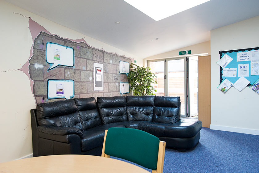 The communal living area at Banbury Foyer