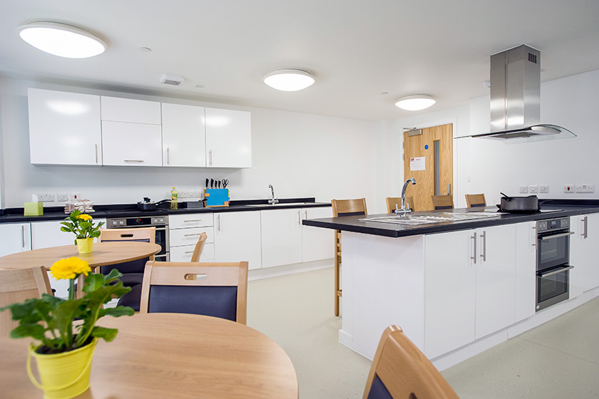 Communal kitchen and dining area at Defoe Court.