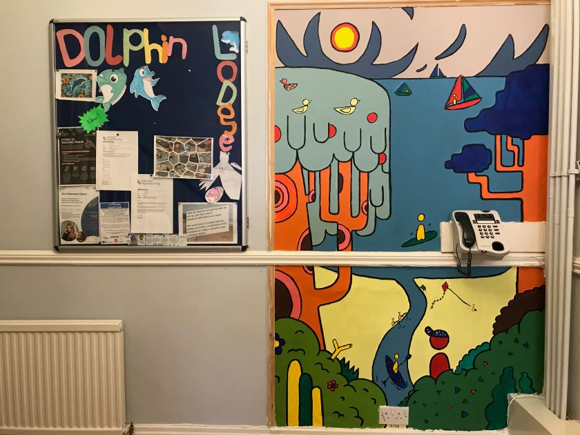 Newly painted mural at Dolphin Lodge