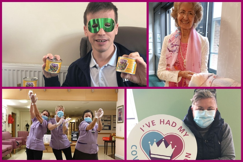 A collage of Sanctuary Supported Living's staff and residents, sharing their Covid Year highlights - from clapping for NHS workers to having the vaccine