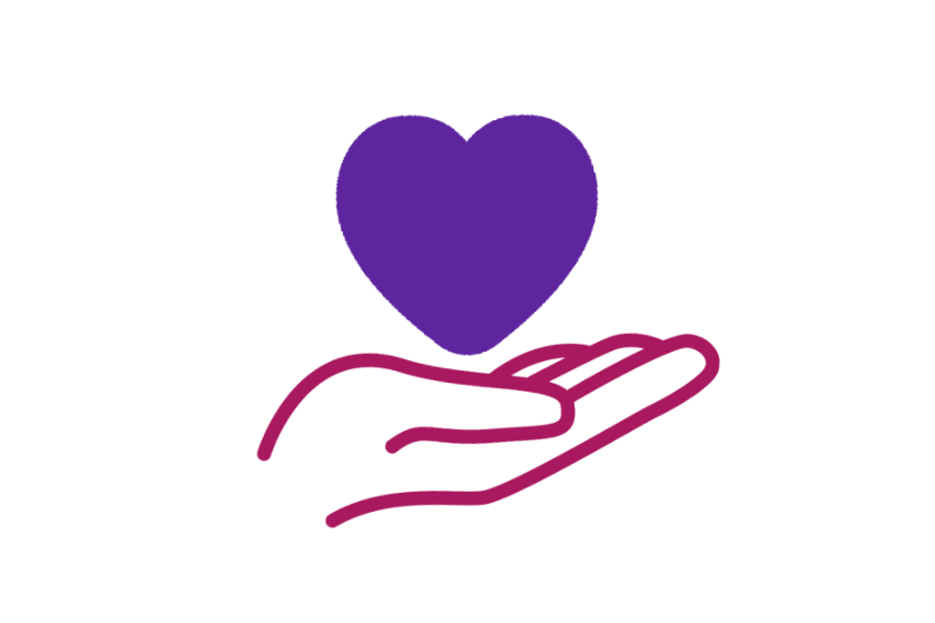 A purple heart sits on a pink hand which is a symbol of support