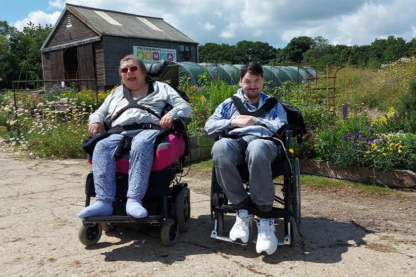 Clover Court residents Tiffany and Christian at Pathways Care Farm