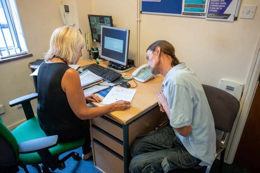 A staff member in a meeting with a resident at Chelmsford Homelessness Supported Housing