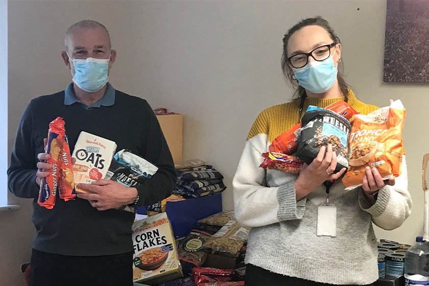 Sanctuary Supported Living's Haverhill Homeless Supported Housing service show off food donations