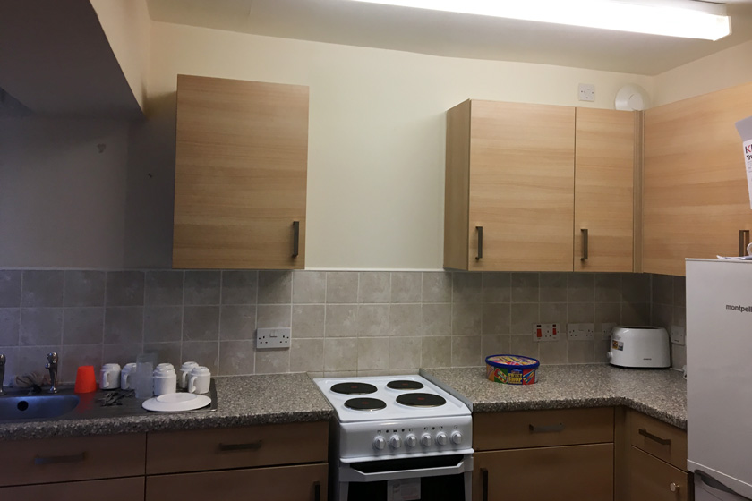 The residents kitchen at St James House