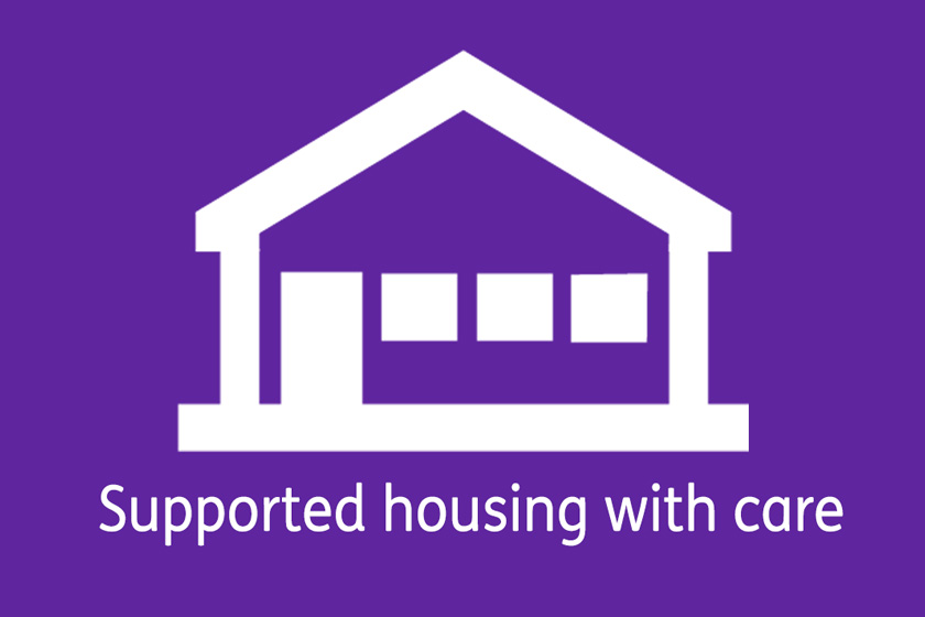 Bungalow icon for supported housing with car schemes