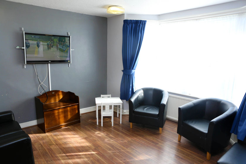 A shared lounge at Thurrock Teenage Parents Supported Housing