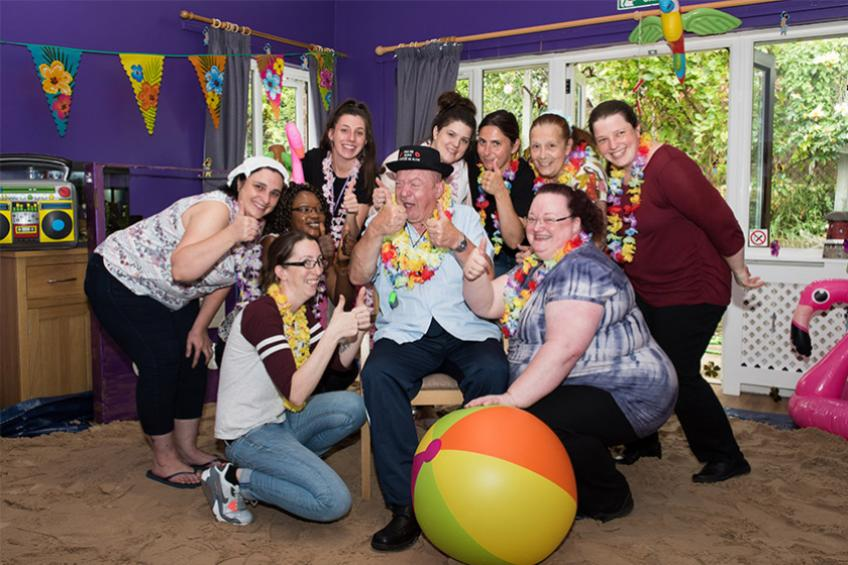 A picture of Care home staff bring the beach to Alan