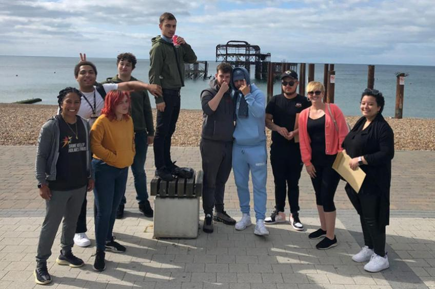 A picture of Brighton young people celebrate Getting on Track