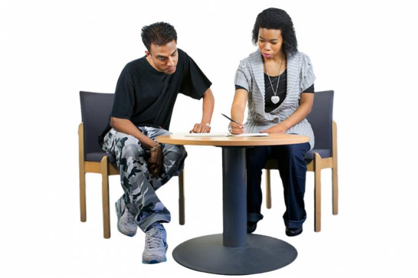 A one to one meeting with a support worker.