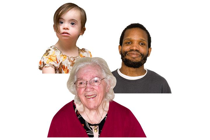Three people, all of different ages