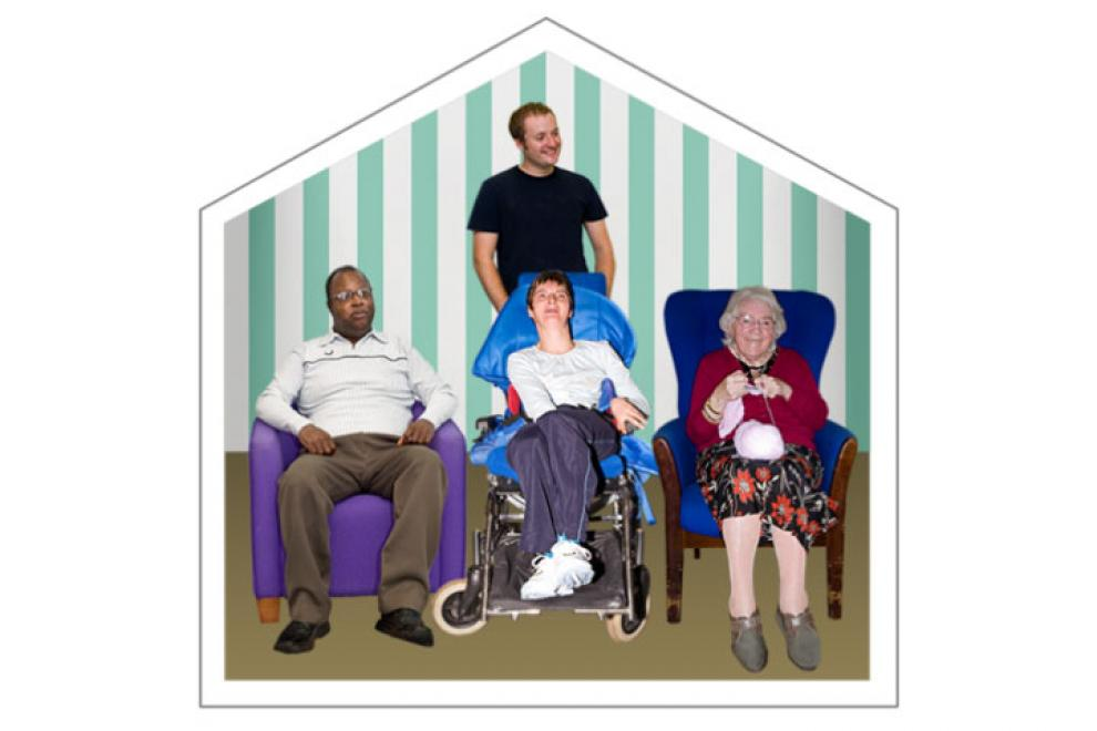 Residents creating the shape of a home