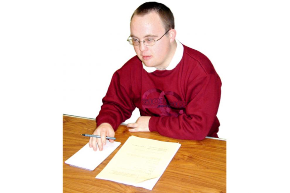 Man working through an interview questionnaire